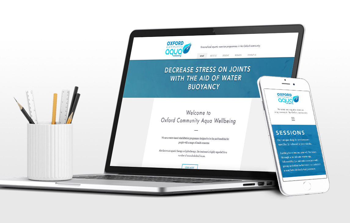Oxford Community Aqua Wellbeing Website - Design by Flavour Marketing